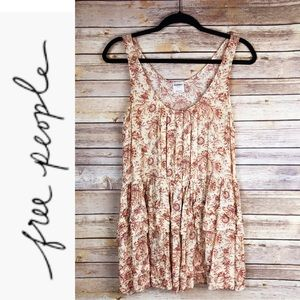 Free People Floral Pleated Tunic Tank Top